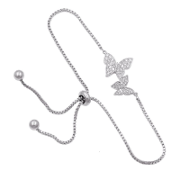 CUBIC ZIRCONIA COLLECTION - BEJEWELLED BUTTERFLY BRACELET - (CZBRA34) SILVER