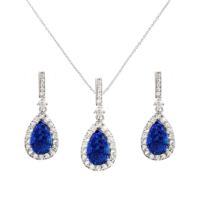 CUBIC ZIRCONIA COLLECTION - CRYSTAL SHIMMER NECKLACE SET - CZNK98 (SAPPHIRE)