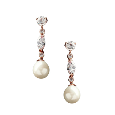 CUBIC ZIRCONIA COLLECTION - GLAM PEARL DROP EARRINGS - CZER363 ROSE GOLD