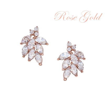 CUBIC ZIRCONIA COLLECTION - DAINTY SHIMMER EARRINGS - CZER486 ROSE GOLD