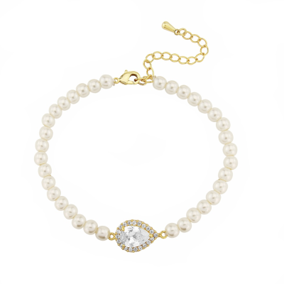 CUBIC ZIRCONIA COLLECTION - CHIC PEARL BRACELET -CZBRA15 GOLD