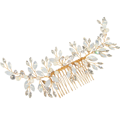 ATHENA COLLECTION - ETERNALLY OPAL BRIDAL COMB - HC211 GOLD