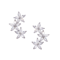 CUBIC ZIRCONIA COLLECTION - DAINTY SPARKLE EARRINGS - CZER483 - SILVER