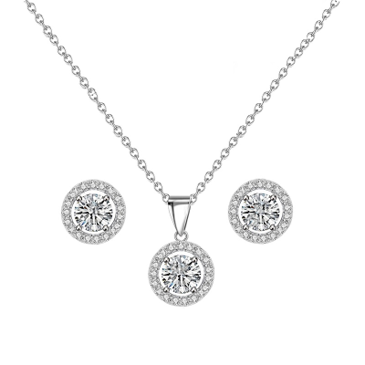 CUBIC ZIRCONIA COLLECTION - CHIC CRYSTAL NECKLACE SET - CZNK50 (SILVER)