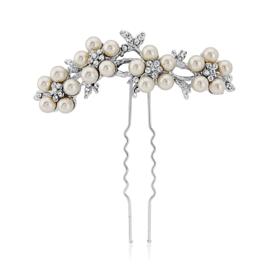 ELITE COLLECTION - Crystal & Pearl Daisy Hair Pin - (Pin 15)