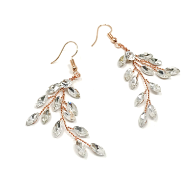 ATHENA COLLECTION - CRYSTAL VINE EARRINGS - (ER487) ROSE GOLD