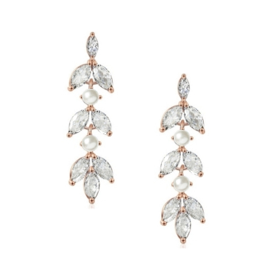 CUBIC ZIRCONIA COLLECTION - DAINTY PEARL SPARKLE EARRINGS - CZER453 ROSE GOLD
