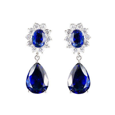 CUBIC ZIRCONIA COLLECTION - DAISY SAPPHIRE BLUE  EARRINGS - CZER459 (BLUE)