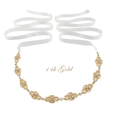 SASSB COLLECTION - CELINE- CRYSTAL CHIC HEADPIECE HP11- SASSB 14K GOLD PLATED