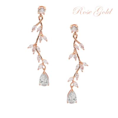 CUBIC ZIRCONIA COLLECTION - DIVINE CRYSTAL VINE EARRINGS - CZER593 ROSE GOLD