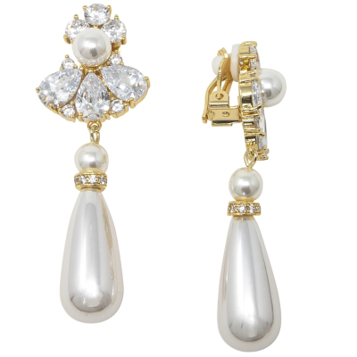 CUBIC ZIRCONIA COLLECTION - BEJEWELLED PEARL DROP EARRINGS - CLIP ON - CZER467-GOLD