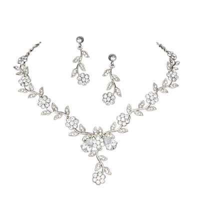 ATHENA COLLECTION - CRYSTAL VINE NECKLACE SET - NK97 (SILVER)