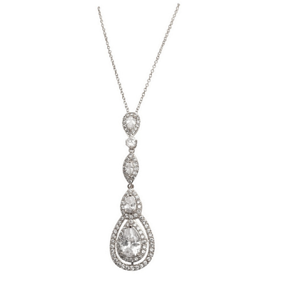 CUBIC ZIRCONIA COLLECTION - STARLET SPARKLE NECKLACE - CZNK75 (SILVER)