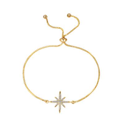 ATHENA COLLECTION - CRYSTAL SPARKLE STAR BRACELET - GOLD- BRA54