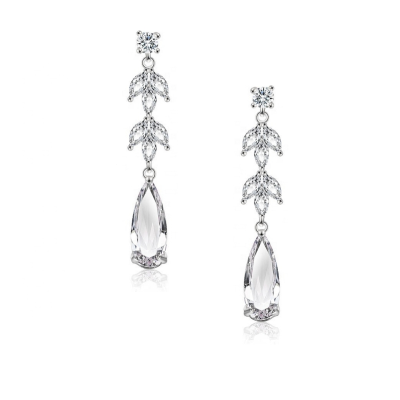 CUBIC ZIRCONIA COLLECTION - GLAM STARLET EARRINGS - CZER564 SILVER
