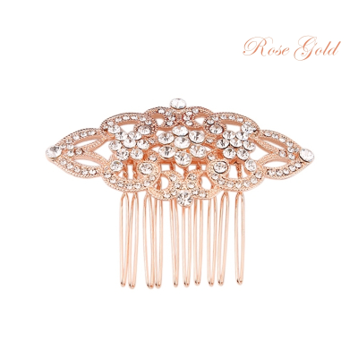 ATHENA COLLECTION - VINTAGE CRYSTAL COMB - HC175 Rose gold