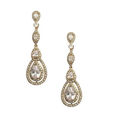 CUBIC ZIRCONIA COLLECTION - STARLET SPARKLE EARRINGS - CZER434 GOLD