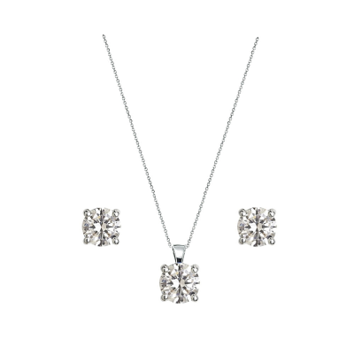 CUBIC ZIRCONIA COLLECTION - CRYSTAL SOLITAIRE NECKLACE SET - CZNK79 SILVER