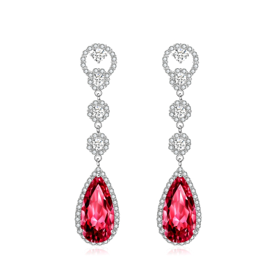 CUBIC ZIRCONIA COLLECTION - CRYSTAL LUXE EARRINGS - CZER516 (RED)