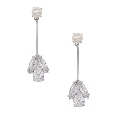 CUBIC ZIRCONIA COLLEECTION - PEARL ELEGANCE EARRINGS - SILVER - CZER530