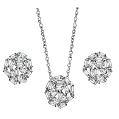 CUBIC ZIRCONIA COLLECTION - LUXE CRYSTAL CLUSTER NECKLACE SET - CZNK110