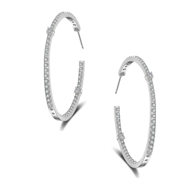 CUBIC ZIRCONIA COLLECTION - SIMULATED DIAMOND HOOP EARRINGS - CZER594 SILVER