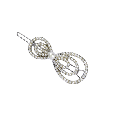 ATHENA COLLECTION - CHIC PEARL BOW CLIP - SILVER (CLIP 747)