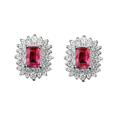 CUBIC ZIRCONIA COLLECTION -DAINTY DIVA EARRINGS - CZER597 -RED
