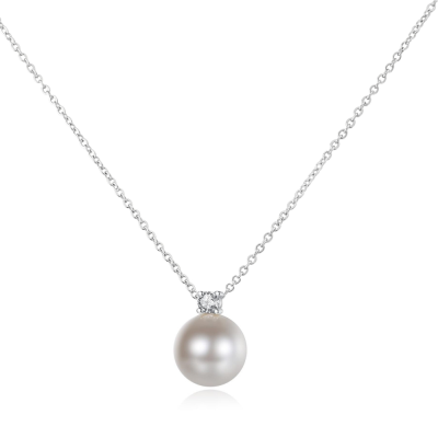 CUBIC ZIRCONIA COLLECTION - CLASSIC PEARL NECKLACE - CZNK120