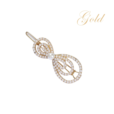ATHENA COLLECTION - CHIC PEARL BOW CLIP - (CLIP 747)  GOLD