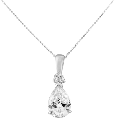 CUBIC ZIRCONIA COLLECTION - CRYSTAL SHIMMER NECKLACE  - CZNK114 SILVER