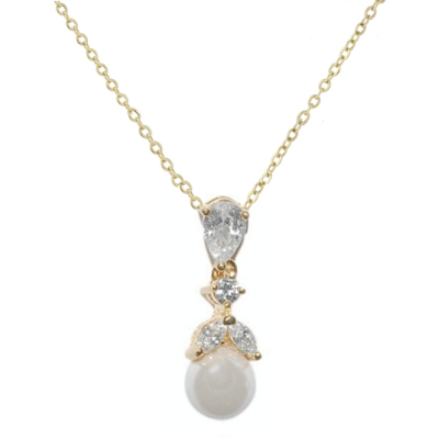 CUBIC ZIRCONIA COLLECTION - GRACEFUL PEARL NECKLACE- (CZNK76) GOLD