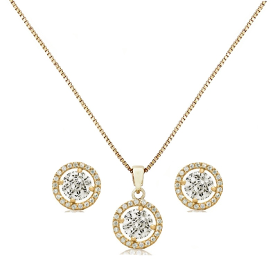 CUBIC ZIRCONIA COLLECTION - CHIC CRYSTAL NECKLACE SET - CZNK50 (GOLD)