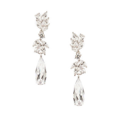 CUBIC ZIRCONIA COLLECTION - CHIC CHANDELIER EARRINGS - CZER436 SILVER