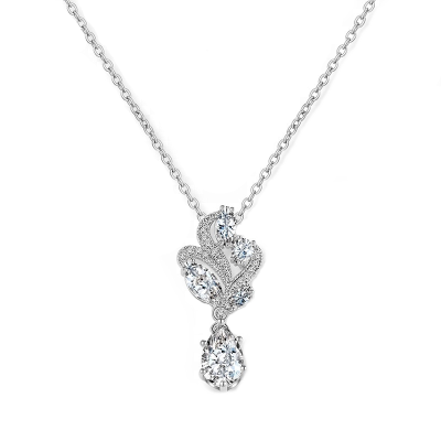 CUBIC ZIRCONIA COLLECTION - BEJEWELLED NECKLACE - CZNK77 SILVER