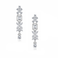 CUBIC ZIRCONIA COLLECTION - SIMPLY EXQUISITE CHANDELIER EARRINGS - CZER587 SILVER