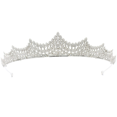 CUBIC ZIRCONIA COLLECTION - LAVISH CRYSTAL TIARA - SILVER - AHB62