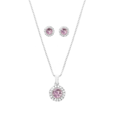 CUBIC ZIRCONIA COLLECTION - CHIC CRYSTAL NECKLACE SET - CZNK50 (LIGHT ROSE)