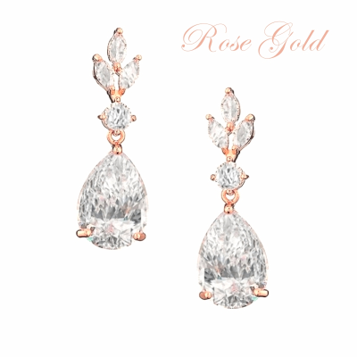 CUBIC ZIRCONIA COLLECTION - SIMPLY SPARKLE EARRINGS - CZER567 ROSE GOLD