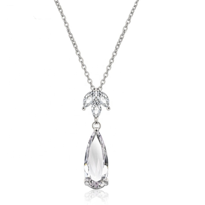CUBIC ZIRCONIA COLLECTION - GLAM STARLET NECKLACE - CZNK112 (SILVER)