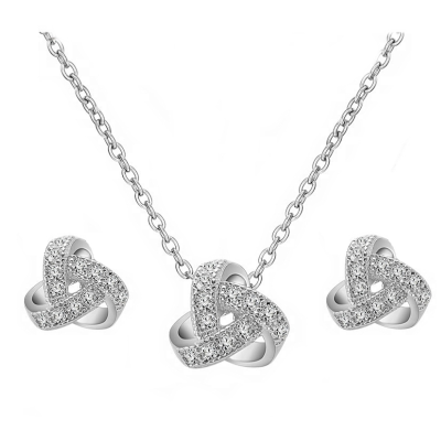 CUBIC ZIRCONIA COLLECTION - CRYSTAL KNOT NECKLACE SET - CZNK111