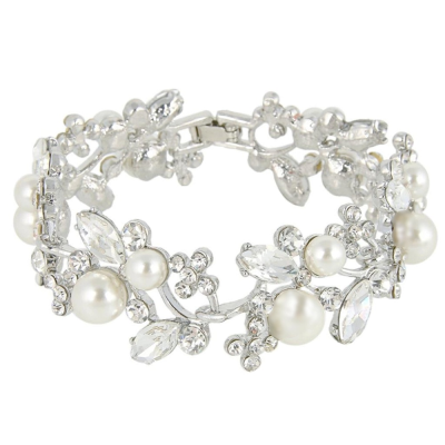 Athena Collection - Glam Pearl Bracelet - (Silver) BR60