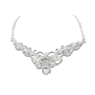 Adelina -Exquisite Treasure Necklace Set -  Silver SASSB