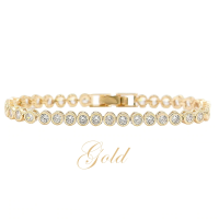 CUBIC ZIRCONIA COLLECTION - SHIMMERING CRYSTAL BRACELET - (CZBRA32) GOLD