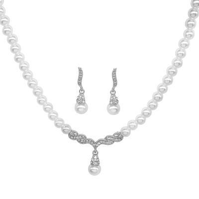 ATHENA COLLECTION - VINTAGE INSPIRED PEARL NECKLACE SET - NK134 SILVER