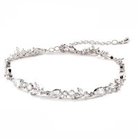 CUBIC ZIRCONIA COLLECTION - CRYSTAL SHIMMER BRACELET - BR125 SILVER