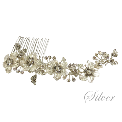 ATHENA COLLECTION - FLORAL ROMANCE HAIR COMB - HC169 SILVER
