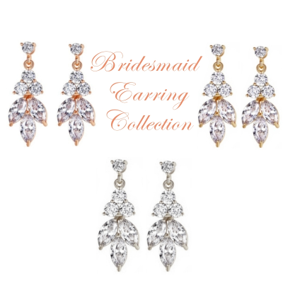 CUBIC ZIRCONIA COLLECTION - DAINTY SPARKLE BRIDESMAID EARRING COLLECTION