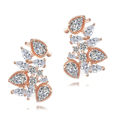 CUBIC ZIRCONIA COLLECTION - STARLET GEM EARRINGS - CZER508 ROSE GOLD