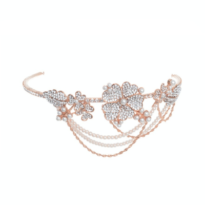 ELITE COLLECTION - Bejewelled Statement Piece Brow Band HP176 ROSE GOLD